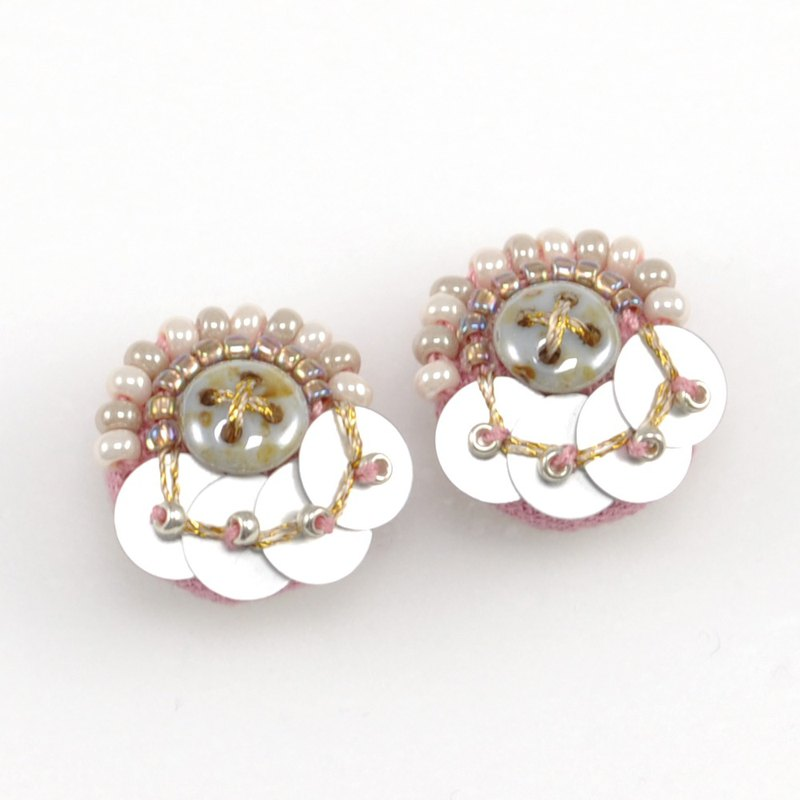 耳環 tiny circle beads earrings,statement earrings,beaded earrings pink 5