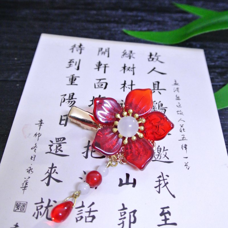 Peony tear hair clip (big red)