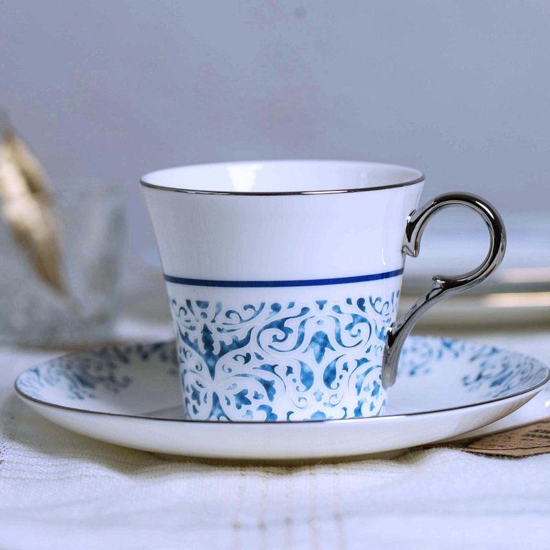 Blue rhyme white gold bone china coffee cup and saucer