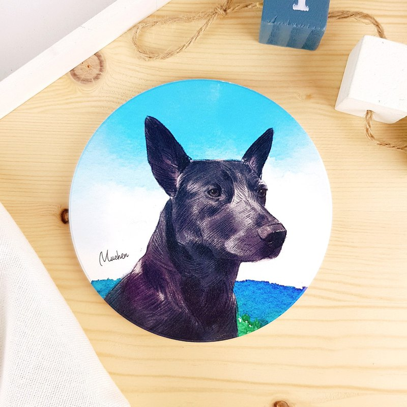 Meeks Black - Round Ceramic Absorbent Coaster / Animal Shiba Inu. Christmas Gifts