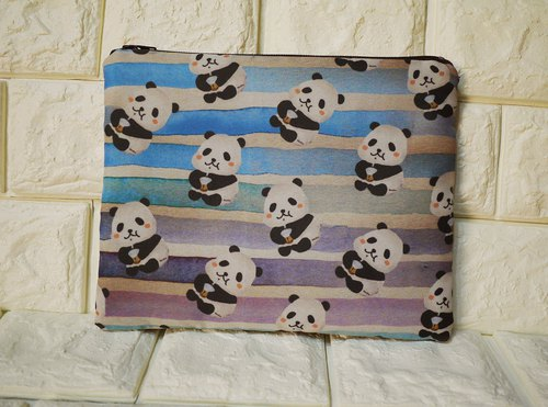 Cosmetic bag pen bag sundries panda drinking pearl milk tea