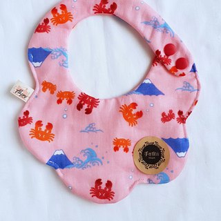 Crab Mt. Fuji - Pink - Eight-Piece 100% Cotton Double Sided Circular Shape Bib. Saliva Towel