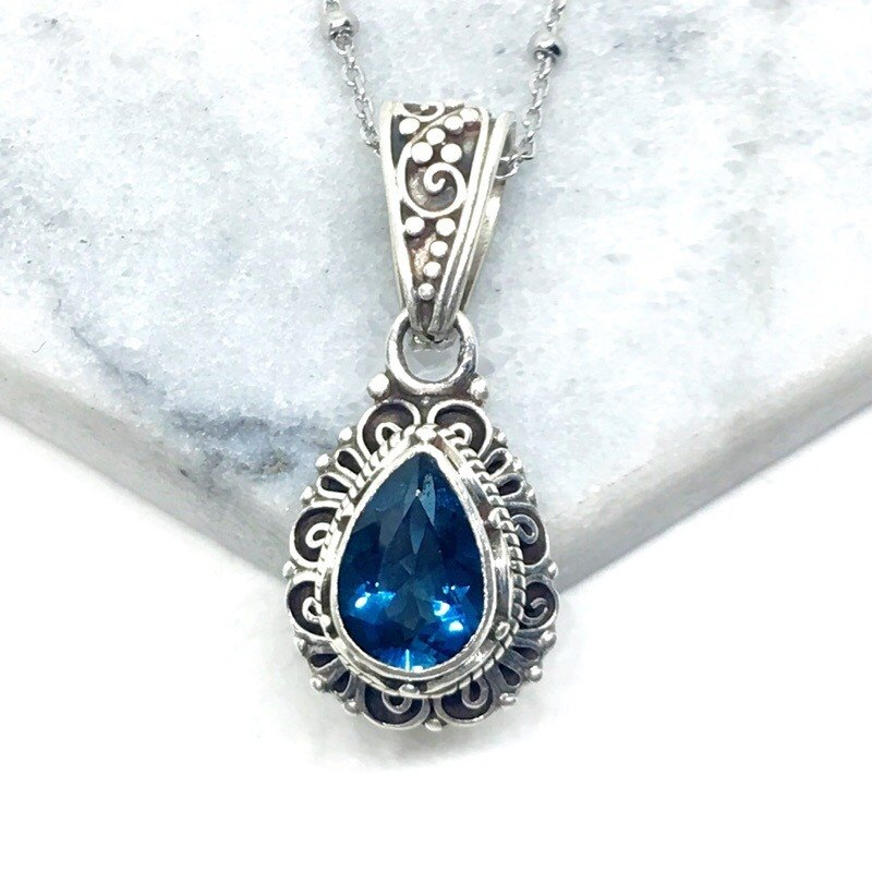 London Blue Topaz Elegant Sterling Silver Necklaces Necklaces Made in Nepal (Style 1)