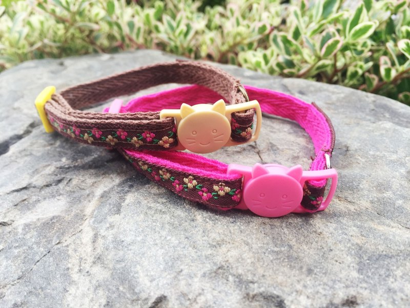 Chain hair child collar - brown flower flower cat head security buckle 1 section section [spot]