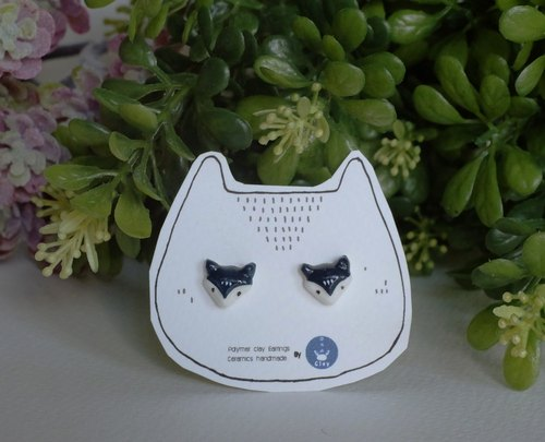 Foxes polymer clay earrings
