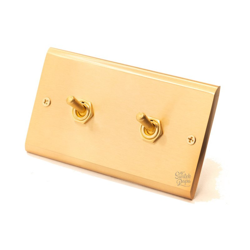 Yellow with panel brass retro switch 2 open