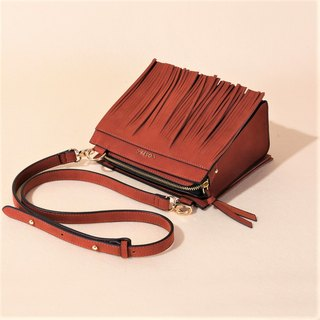 Valentine's Day Gift TASSO BOX Brown Color Square Tassel Ladies Shoulder Bag