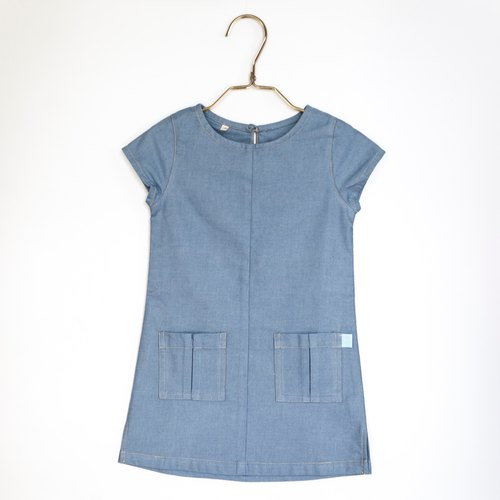 [my little star] hand man hand simple wind organic cotton denim dress (light blue)