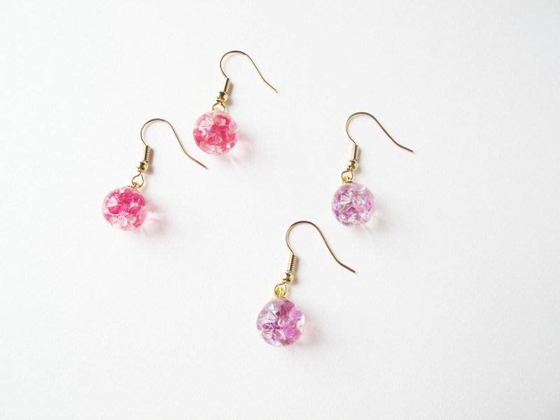 *Rosy Garden*crystals water inside glass ball earrings pink/ purple