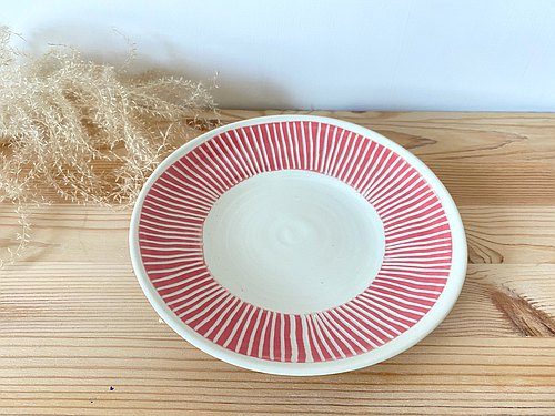 A line - handmade pottery plate (Pink)