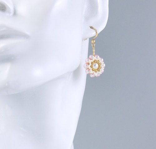 Pink pearls floral earring, feminine, elegant jewelry, gift for her, 150-338