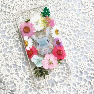 iPhone 7 Dry Pressed Flowers Case Colourful Rabbit Flowers case 022
