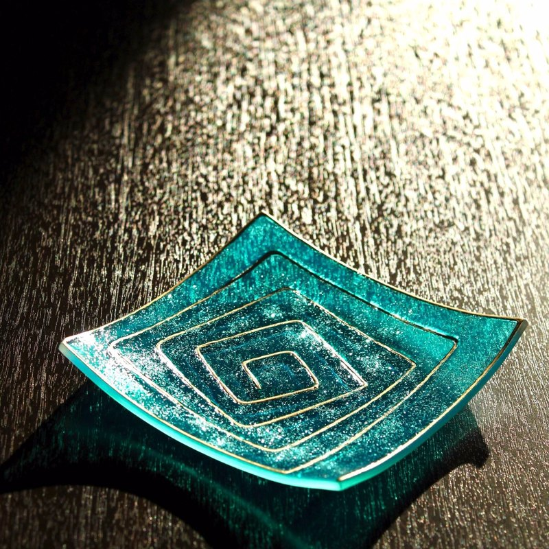 Teal Light Gold Geometric Pattern Art Decor Glass Jewelry Dish・Personalized Girlfriend Gift