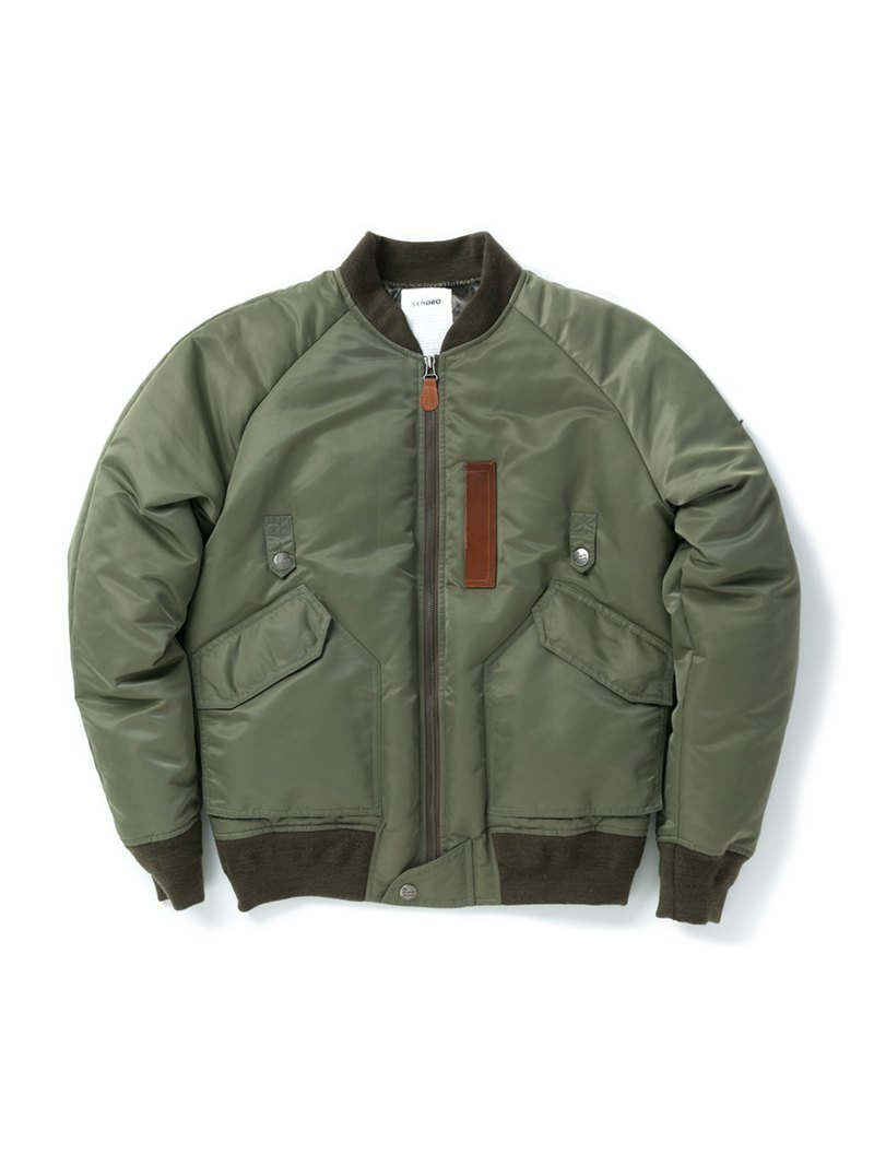 """LONE AVIATOR"" BOMBER DOWN JACKET - MILITARY GREEN"