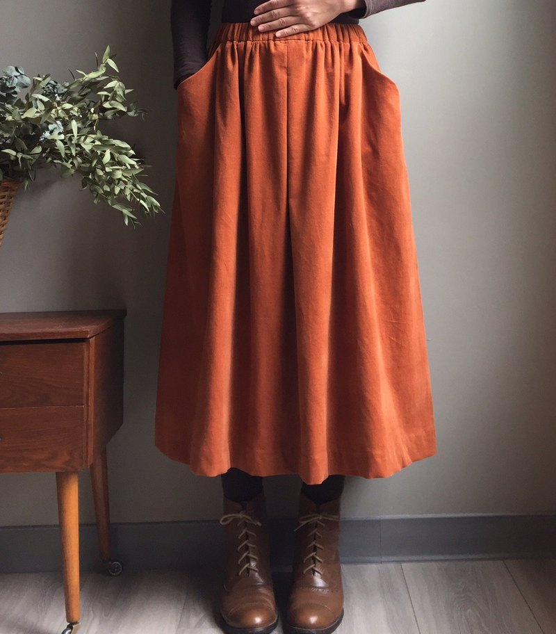 *Visit gingerbread house*Persimmon color light heart velvet and ankle dress 100% Japanese cotton quality cashmere