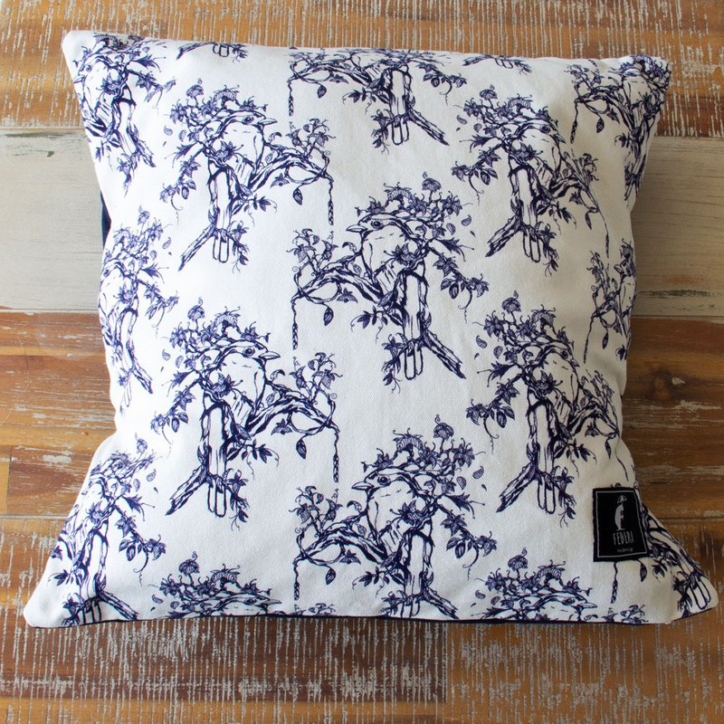 "Federi Canvas Cushion Cover  ""Bird and leaves "" navy"