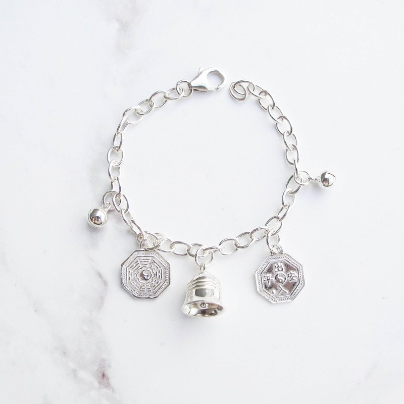 Big staff Taipa [old and young] suitable for peace and safety × gossip × small bells children sterling silver bracelet