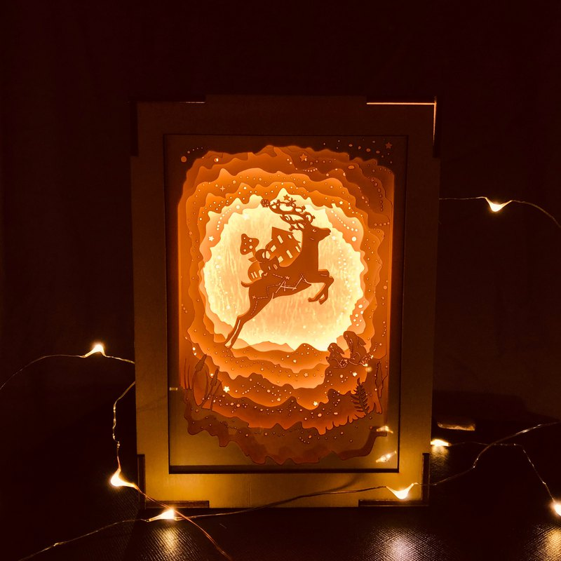 | Light and Shadow Story | Mini Paper Carved Night Light | Christmas Deer Planet |