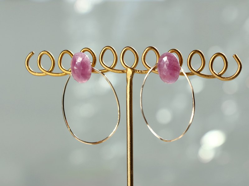 14kgf-pink sapphire oval pierced earrings
