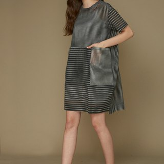 Striped stitching loose dress