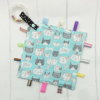 F44-handmade 2 in 1 handbell label appease towel can be used as pacifier chain Japanese double yarn X2 times = 4 layers