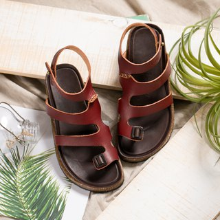 Leather Roman Sandals _ Wine Red
