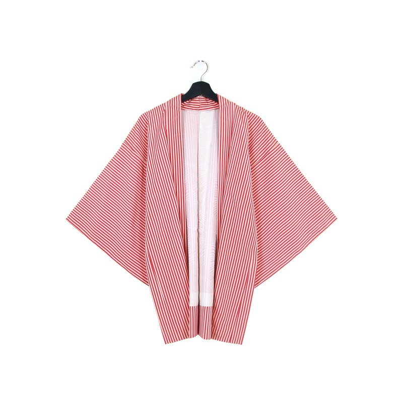 Back to Green :: Japanese kimono feather woven back to the festival red and white striped vintage kimono (KC-09)