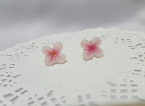 Four romantic immortal flowers. [Three-dimensional pink] ear paste earrings. Anti-allergic ear needle / earrings