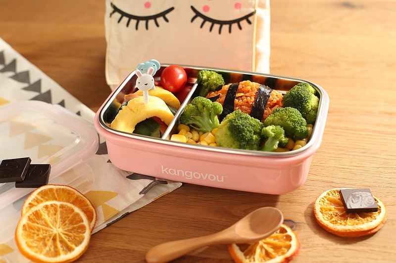 American kangovou small kangaroo stainless steel safe lunch box - coral powder