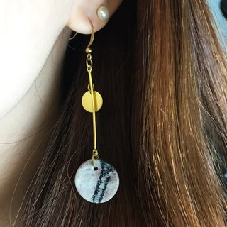 Can change clip - brass mesh stone earrings - Round edge - a single branch