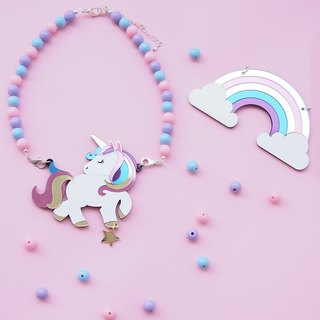 Unicorn Rainbow Statement Necklace