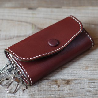 Hand sewn leather key case for chocolate