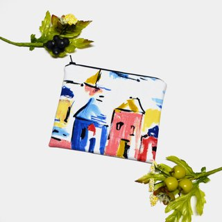 Little houses Small Zippered Bag /  cosmetic bag / Zippered Pouch / Small Pouch