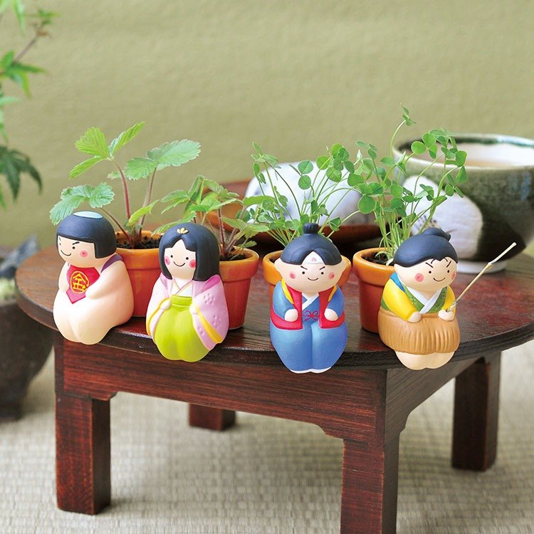 Have a seed Free sitting series potted pottery / Japanese fairy tale (four models)