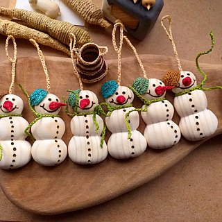 3 Snowman ornaments, Christmas tree ornaments, wood ornament