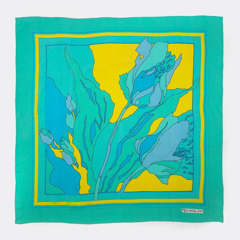 Retro Lake Green Graphic Antique Scarf BO0031