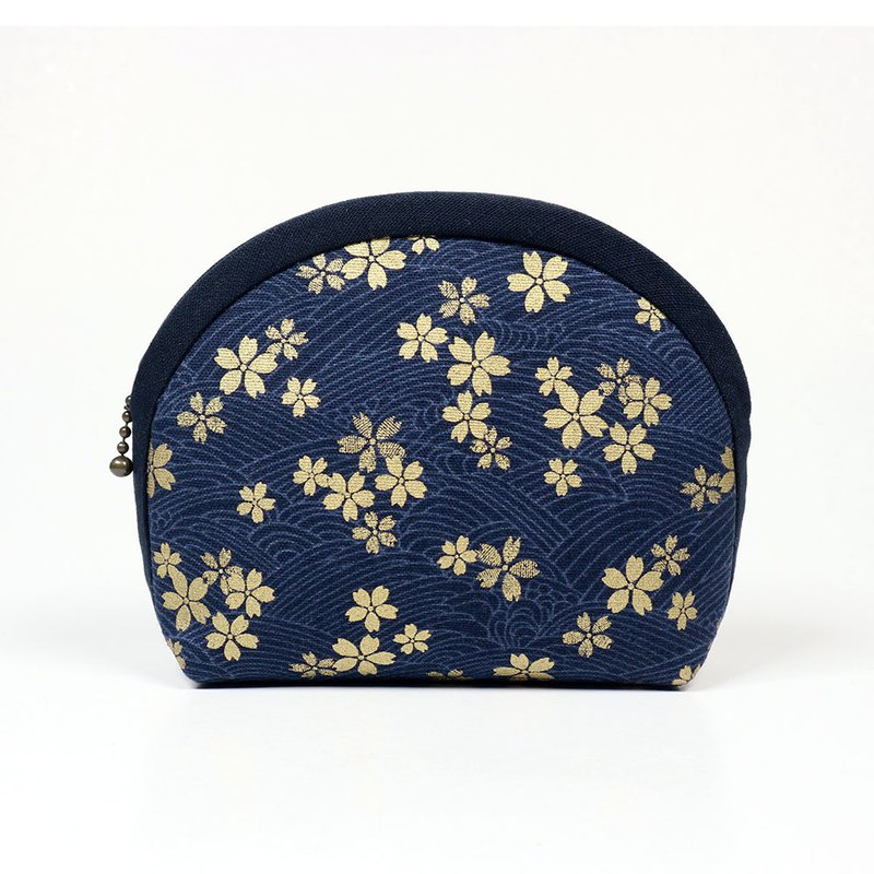 Hand with purse cosmetic bag - cherry blossom (blue)