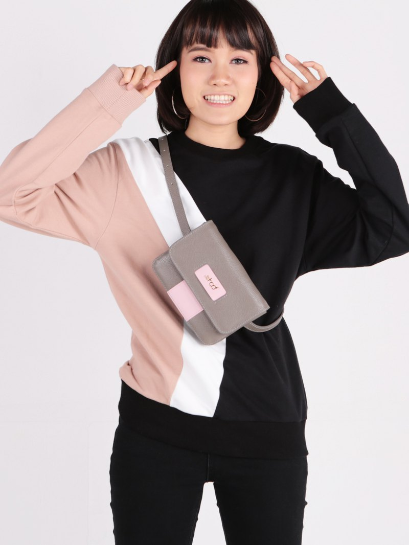 Claire - leather belt bag in grey and pink
