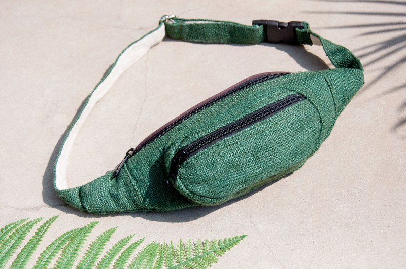 Carrying pockets cotton and linen pockets hand-woven cloth side backpack cross-body bag chest carrying bag shoulder bag - grassland