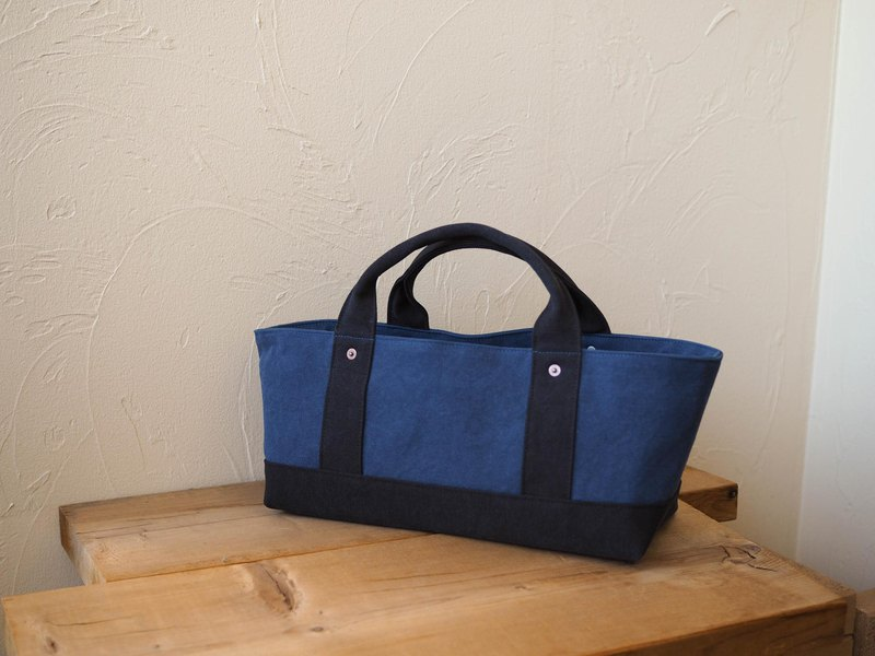 Tote with lid only Yokonaka Cerulean Blue × Black