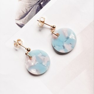 La Don - Stone Disc - Pink Blue Ear Pins / Ear Clips
