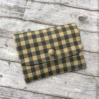 Face Paper Bag Card Pack Purse Brown Green Plaid