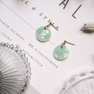 La Don - Stone Disc - Green Ear Pins / Ear Clips
