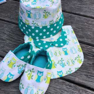 Owl Miyake gift box - hat + bib + toddler shoes three groups
