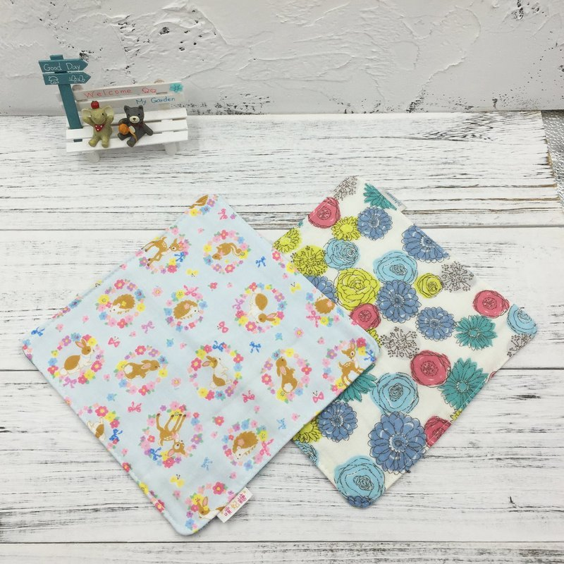 G08-soft soft gauze handkerchief (six-layer gauze) double-sided pattern wreath small animal & circle flower