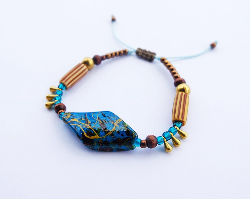 Teal painted bar bohemian string bracelet