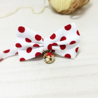Red dot cat mini dog small dog bow decorative collar
