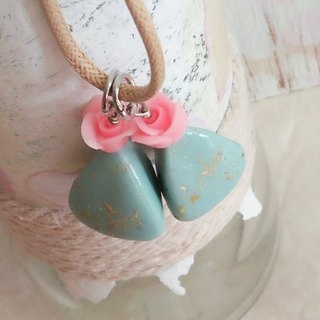 Pink Rose, Blue Tribal Earrings, Mixed and Matched, Gift for her, Clay Necklace, Pendant