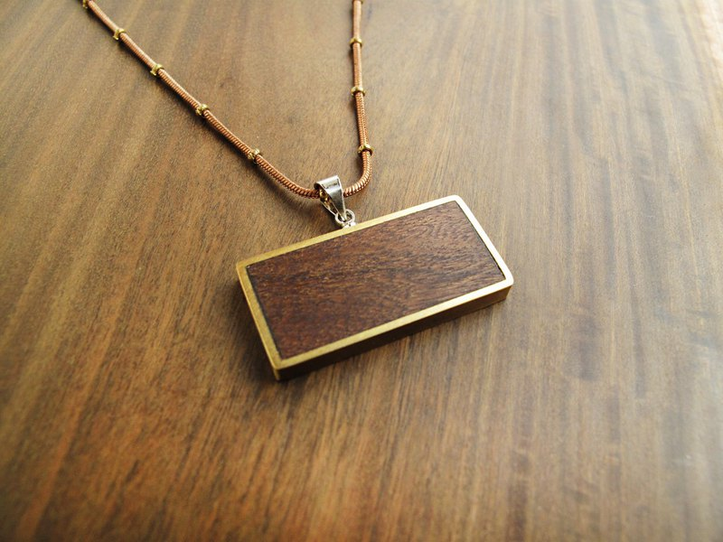 Square Rectangle / Geometric Wood Frame Necklace / Black Gold Tan