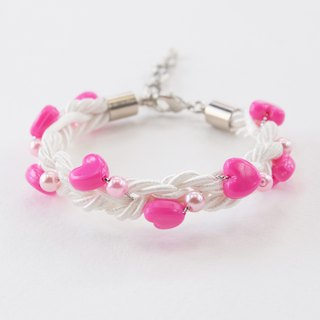 Valentine collection pink heart white braided bracelet